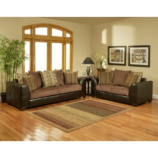 Furniture of America Journey Fabric Chocolate 2-piece Sofa Set