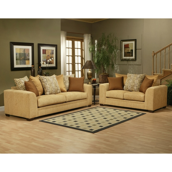 Furniture of America Braxton Fabric Pine 2-piece Sofa Set