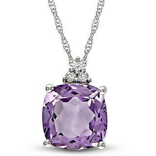 Miadora 10k White Gold Amethyst and Diamond Necklace