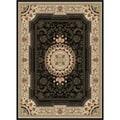 Soho Black Oriental Polypropylene Rug (5'3 x 7'3)