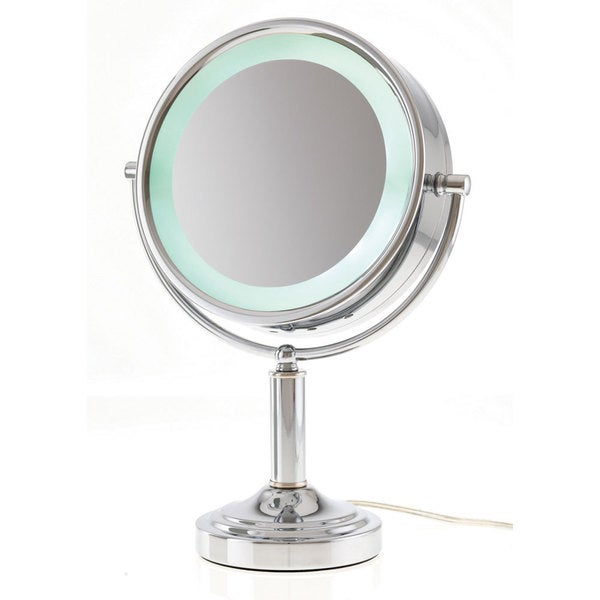 lighted flip vanity mirror overstock shopping top rated makeup. Black Bedroom Furniture Sets. Home Design Ideas
