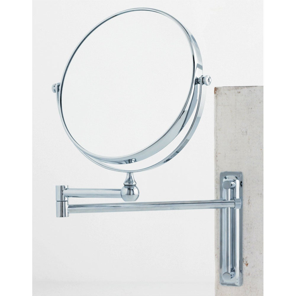 Cool 24centimeter Double Arm Wallmounted Unlit Mirror That Can Extend To 43 Centimeters It Is Adjustable Both Vertically  And 7opt Wallmounted Mirror  Contemporary  Round  Magnifying ASTER BS Wallmounted Mirror