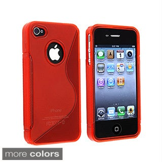 Black 'S' Shaped TPU Rubber Case for Apple iPhone 4
