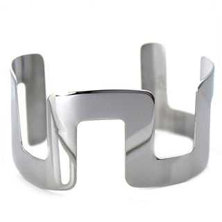 West Coast Jewelry Stainless Steel Block Design Cuff Bracelet