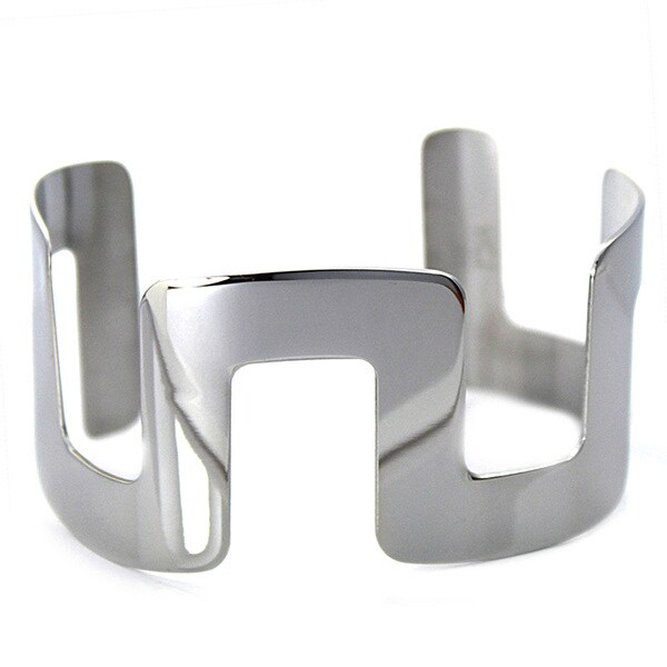 West Coast Jewelry Stainless Steel Block Design Cuff Bracelet