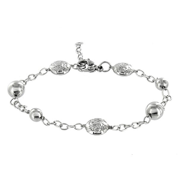 West Coast Jewelry Stainless Steel Bead Chain Bracelet