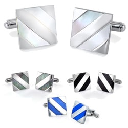 West Coast Jewelry Stainless Steel Diagonal Stripe Inlay Cuff Links