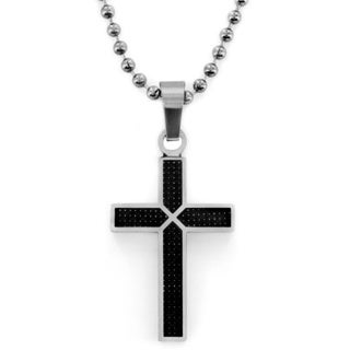 West Coast Jewelry Stainless Steel Black Carbon Fiber Cross Necklace