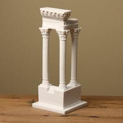 White Bonded Marble Roman Corner Column Statue