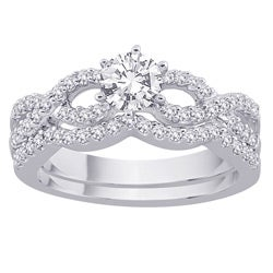 14k White Gold 1ct TDW Diamond Bridal Ring Set (G-H, SI1) (Size 6.75)