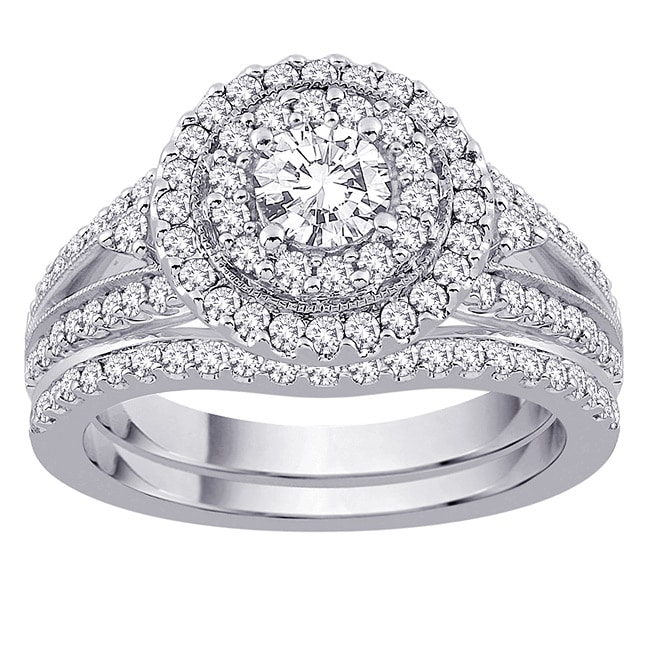 14k White Gold 1 1/4ct TDW Diamond Engagement Set (G-H, SI2-I1) (Size 6.75)