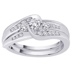 14k White Gold 1/2ct TDW Diamond Bridal Ring Set (G-H, SI1) (Size 6.75)