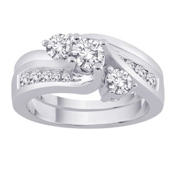 14k White Gold 1ct TDW Diamond Engagement Ring Set (G-H, SI2-I1) (Size 6.75)