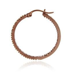 Icz Stonez Rose Gold over  Sterling Silver CZ Hoop Earrings