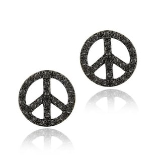DB Designs Sterling Silver Black Diamond Accent Peace Sign Earrings