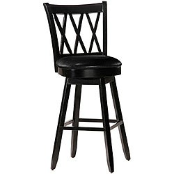 Jasna Wood Black Leather Bar-height Stool