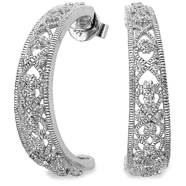 Sterling Silver 1/4ct TDW Diamond Filigree Earrings (H-I, I2)
