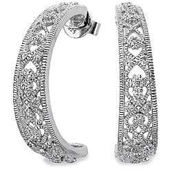 Sterling Silver 1/4ct TDW Diamond Filigree Earrings (H-I, I2)