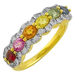 Fremada 14k Gold over Silver Multi-colored Sapphire Ring