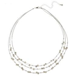 Glitzy Rocks Sterling Silver Grey Freshwater Pearl 3-row Necklace (4-4.5 mm)