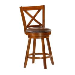 RYLAND X-Cross Swivel 24-inch Counter Height Stool
