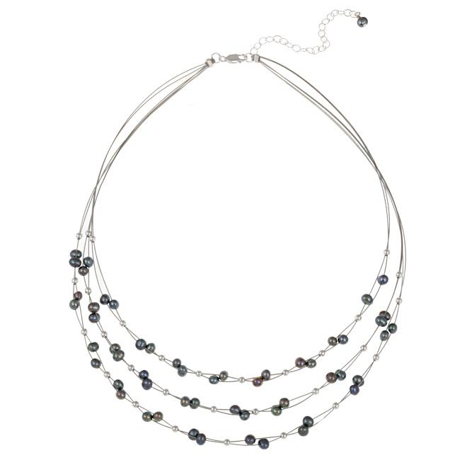 Glitzy Rocks Sterling Silver Peacock Freshwater Pearl 3-row Necklace (4-4.5 mm)