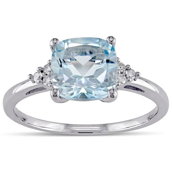 Miadora 0.06 CT Diamond TW And 2 1/2 CT TGW Blue Topaz - Sky Fashion Ring 10k White Gold GH I2;I3