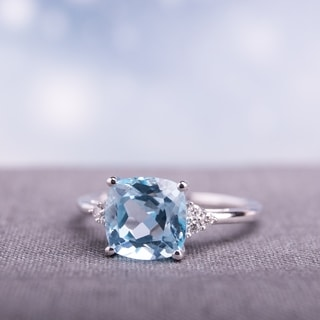 Miadora 10k White Gold Blue Topaz and Diamond Ring