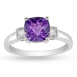 Miadora 10k White Gold Amethyst and Diamond Fashion Ring