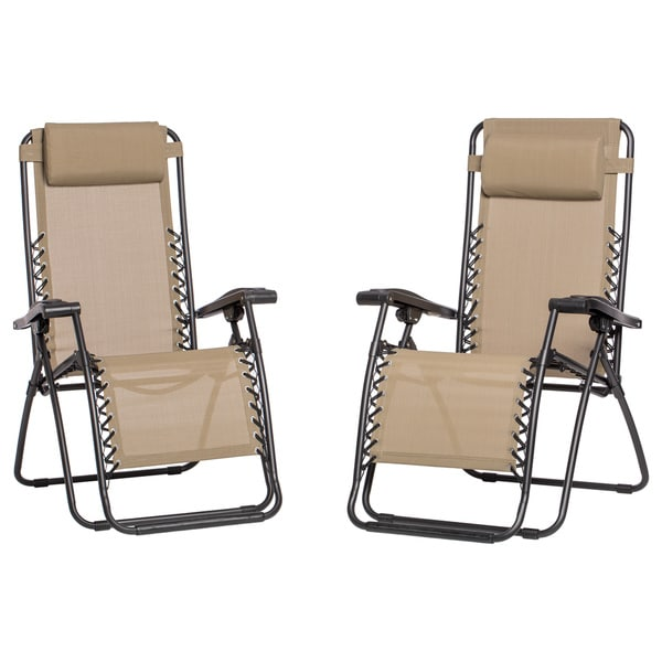 Caravan Canopy Beige Zero-Gravity Chairs (Pack of Two)