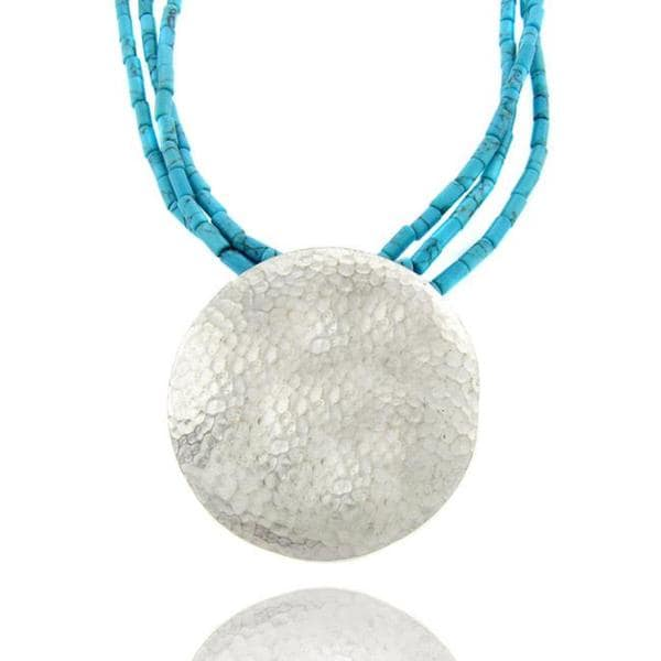 Dolce Giavonna Sterling Silver Synthetic Turquoise Hammered Disk Necklace