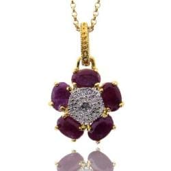 Dolce Giavonna 18k Gold over Silver Ruby and Diamond Accent Necklace