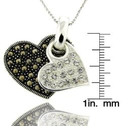 Dolce Giavonna Sterling Silver Marcasite and Cubic Zirconia Heart Necklace