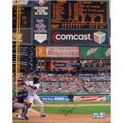 Steiner Sports Austin Jackson Tigers White Jersey At Bat vs. Indians 16x20-inch Photograph