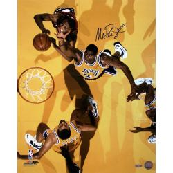 Los Angeles Laker Magic Johnson Overhead View 16x20 Autographed Photo
