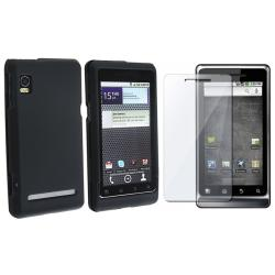 Black Rubber Case/ Screen Protector for Motorola Droid 2 A955