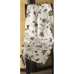 Square Black/ White Floral Tablecloth