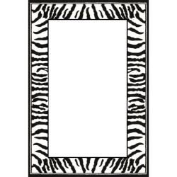 Lyndhurst Collection Zebra Border Black/ White Rug (6' x 9')
