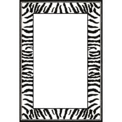 Lyndhurst Collection Zebra Border Black/ White Rug (8' x 11')