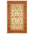 Lyndhurst Collection Ivory/ Rust Rug (5' 3 x 7' 6)