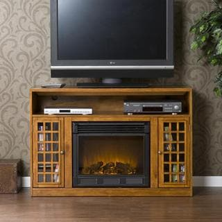 Branick Glazed Pine Media Console Fireplace