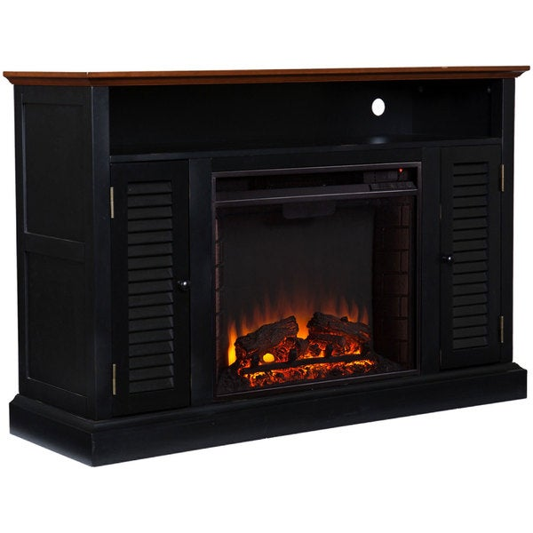 upton home herschel black media console fireplace overstock shopping