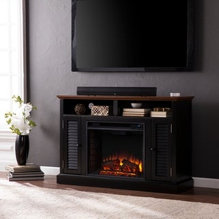 Herschel Black Media Console Fireplace