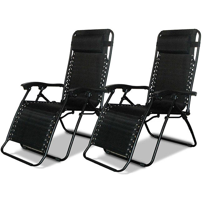 Caravan Canopy Black Zero-Gravity Chairs (Pack of Two)