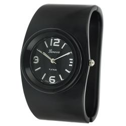 Geneva Women's Platinum Black Hinged Watch