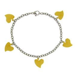 Stainless Steel Goldtone Heart Charm Bracelet