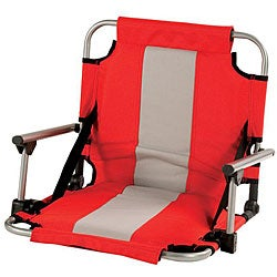 Stadium Red/ Tan Stripe Armed Stadium Seat
