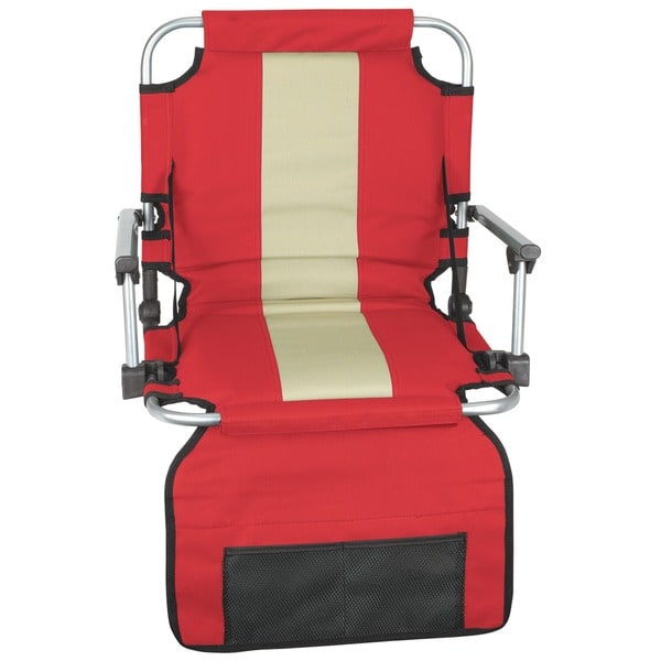 Stansport Red/ Tan Stripe Armed Stadium Seat