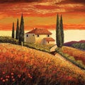 Santo De Vita 'Sunset Over Tuscany II' Canvas Art