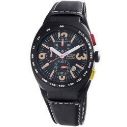 Montres De Luxe Men's 'Black Avio' Chronograph Watch